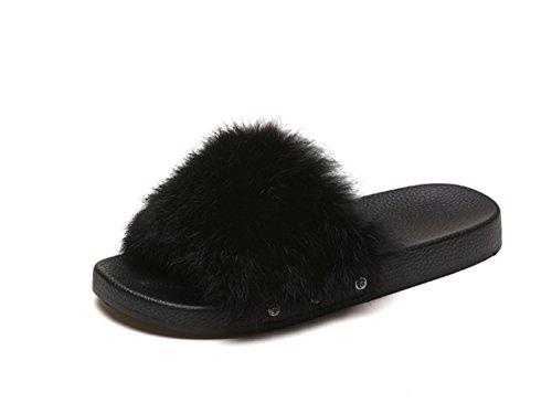 Dames Schoenen Bont Herfst Winter Flip-Flops Bont Voering Comfort Slippers Platte hak Open teen voor Casual Wijn Groen Grijs Zwart