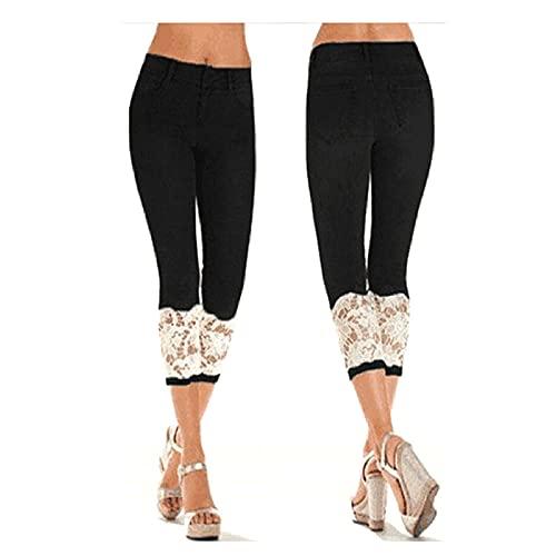 Capri-Leggings für Damen, Übergröße, kurze Jeans-Leggings, Spitze, kurze Jeans mit Spitzenbesatz, schwarz, 5XL