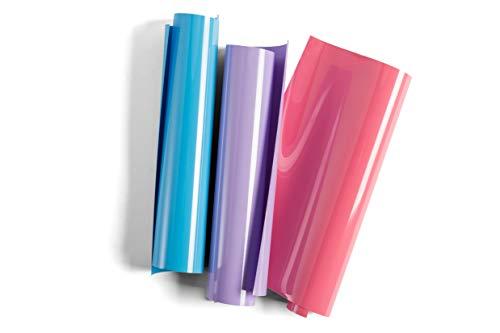 Cricut Folhas de vinil para uso diário, 30,5 cm x 30,5 cm (3), Suprimentos DIY - Amostras de pastel - lilás, céu, rosa