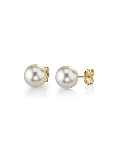 THE PEARL SOURCE 14K Gold 455mm Baby Sized AAA Quality Round White Cultured Akoya Pearl Stud Earrings for Women