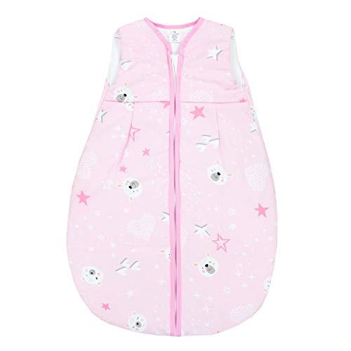 TupTam Baby Ganzjahres Schlafsack ohne Ärmel Wattiert, Farbe: Bärchen Sterne/Rosa, Größe: 62-74