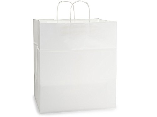 """Pack Of 25, Solid Regal White Kraft Paper Bags 14 X 10 X 15"""" w/Edge Tops & Sturdy Paper Twisted Handles"""
