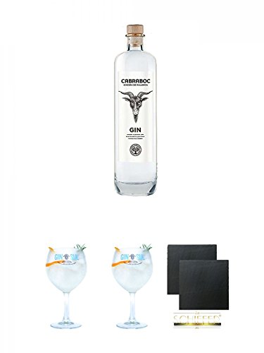 Cabraboc Gin Spanien Mallorca 0,7 Liter + Gin Sul Copo Ballon Glas 1 Stück + Gin Sul Copo Ballon Glas 1 Stück + Schiefer Glasuntersetzer eckig ca. 9,5 cm Ø 2 Stück