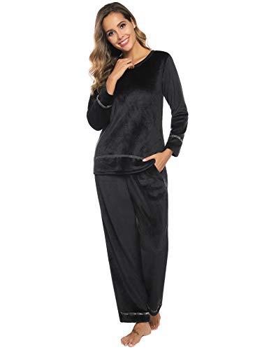 Sykooria Conjunto de Pijama para Mujer, Ropa de Dormir de Franela, Jersey de Manga Larga cálida y Pantalones Largos para el Invierno