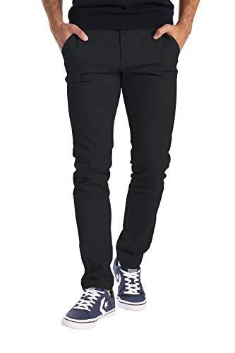 BlauerHafen Herren Designer Chino Hose Stretch Stoff Chinohose Slim Fit Casual Trousers (32W / 32L, Schwarz)