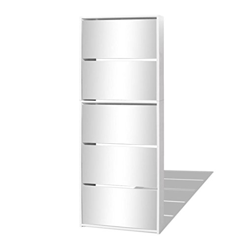 vidaXL Schuhschrank Schuhregal Schuhkipper Schuhkommode 5 Fächern Spiegel Weiß