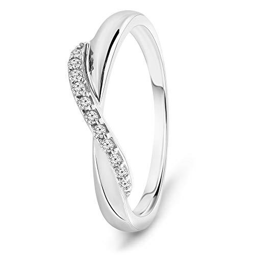 Miore Ring Damen 0.08 Ct Diamant Unendlichkeit Infinity Ring aus Weißgold 9 Karat / 375 Gold, Schmuck mit Diamanten Brillanten