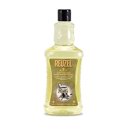 Reuzel - 3-In-1 Tea Tree Shampoo - Shampoo Conditioner & Body Wash - Beruhigt die Haut und befeuchtet die Kopfhaut - Keine Rückstände - Mit Spearmint-Duft - Reinigt von Kopf bis Fuß - 33.81 oz/1000 ml