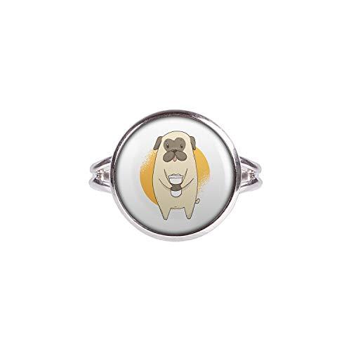 Mylery Ring mit Motiv Mops Hund Pug Süß Kaffee-Becher Silber 14mm