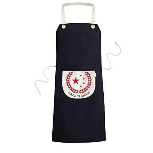 Gemaakt in China National Emblem Stars Tarwe Rijst Rood Chinese Koken Keuken Zwarte Bib schorten Met Pocket voor Vrouwen Mannen Chef Geschenken