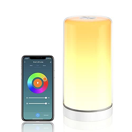 LED Nachttischlampe, SKYNESS Touch Control Tischlampe Dimmbares Nachtlicht ompatibel mit Siri, Alexa, Google und Smartthings für Schlafzimmer, Wohnzimmer, Hause, Büro, Studie kein Hub erforderlich