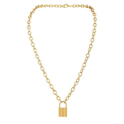 YUNLAN Moda Exquisita joyería Collar Personalidad Collar Hip Hop Grande Bloque Grueso Aluminio Oro Collar de Cadena Grueso Collares Mujer (Color : G2)