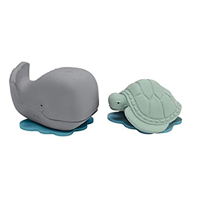 HEVEA Natural Rubber Whale and Turtle Bath Toy Giftset (Grey/Mint)