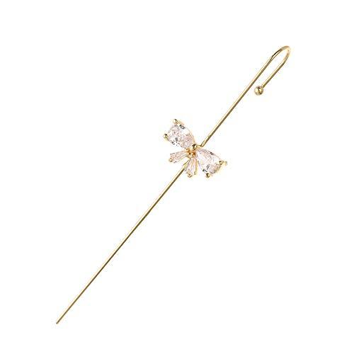 Joyería de boda Agujas Punk alrededor del auricular Zirconia Pearl Cuff Ear Stud Crawler Hook Pendientes Piercing Pendientes Climber Ear Wrap(1)