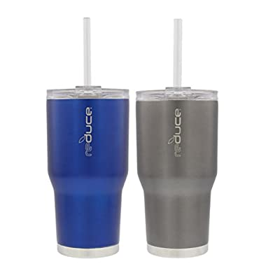 reduce COLD-1 Vacuum Insulated Thermal Tumbler with Two Extra Straws, 30oz - Satin Grey & Blue (2 Pack)