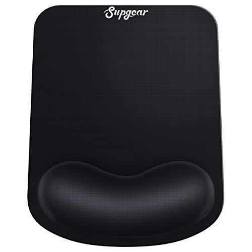 Supgear Ergonomische Mauspad mit Handauflage, Komfort Mousepad Gel mit Memory-Schaum Maus Handballenauflage Anti-Sehnenscheidenprobleme für Computer und Laptop - Schwarz