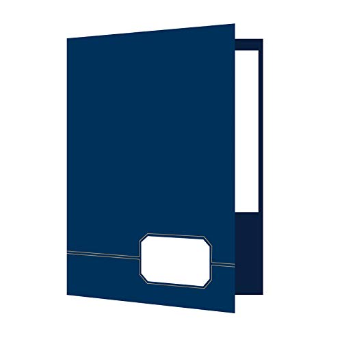 Oxford Monogram Executive Twin Pocket Folders, Letter Size, Blue with Gold Foil Trim, 4 Pack (04162)