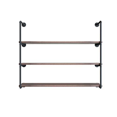 Comif-barhocker Drijvend wandrek, antiek hangende boekenkast van massief hout, rustieke industriële metaaldecoratie, voor woonkamer, badkamer, keuken