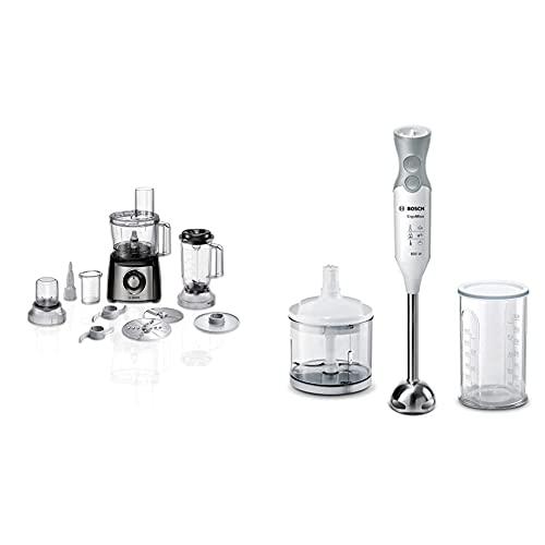 Bosch Mcm3501M Multitalent 3 Robot Da Cucina Compatto, 800W, Plastica, Acciaio Inossidabile, Nero/Argento & Ergommixx Mixer A Immersione, Frullatore, 600W, 70 Decibel, Plastica, 12 Velocità, Bianco