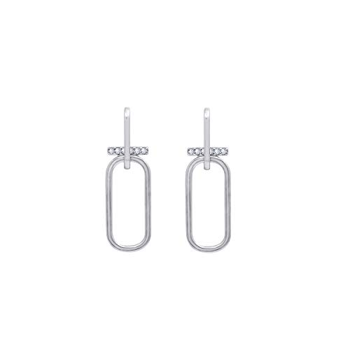 KIERA COUTURE Platinum Clad Sterling Silver Cubic Zirconia Double Link with Bar Drop Stud Earrings