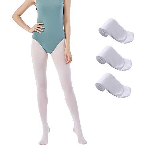 MANZI 3 Paare Damen Mädchen Strumpfhose Ballett Tanz Strumpfhosen mit Fuß 40 Den,Weiß,Small