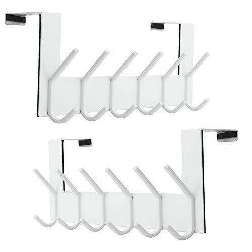 Dseap Over The Door Hook Hanger - 6 Hooks Over Door Coat Rack for Hanging Clothes Hat Towel,White, 2 Packs
