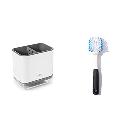 OXO Good Grips Sinkware Caddy & Good Grips Dish Brush with Scraper, 18/8 Stainless Steel, Plastic, 1 EA