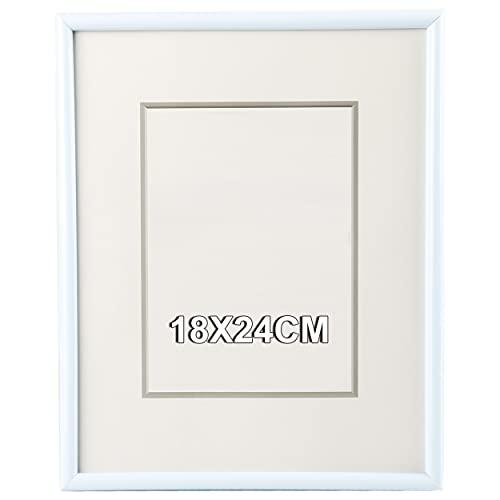 Marco de Fotos 18 x 24 cm Blanco Estilo Sencillo PVC Panel de Cristal Marco de Fotos para Decoración 🔥