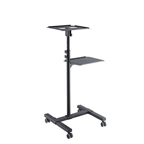 conecto CC50282 Neigbarer Projektionswagen/-Tisch für Beamer und Projektoren , neigbar -12° bis 12°, flexibel einstellbar, höhenverstellbar 950-1450mm, Traglast max. 10kg, schwarz