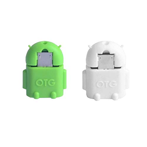 KRS A1 White / Green - USB OTG Robot - OTG Adapter Micro USB Male Type B / USB Female Type A OTG Android Robot - USB Adapter