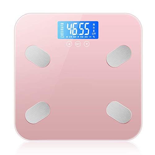 XIAOPING Básculas De Baño, Básculas De Grasa Corporal, Básculas Electrónicas Inteligentes, Básculas De Peso Electrónicas (Color : Pink)