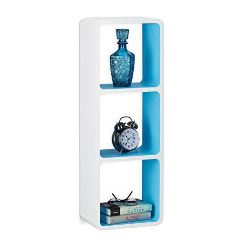 Relaxdays Wandregal mit 3 Fächern, offenes Cube Schweberegal oder Standregal für Deko, CDs, Bücher, 90x30 cm, weiß-blau