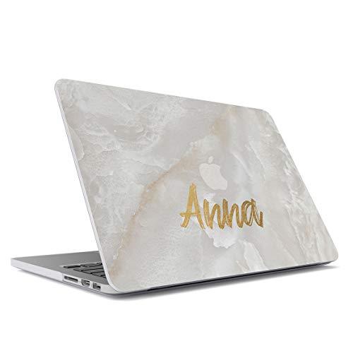 "MerchCandy Personnalisé Coque Plastique Rigide pour Macbook Air 13"", modèle: A1466, A1369 Custom Surname Name Number Gold Letter Text Customized White Pearl Marble Stone Blanche Marbre"