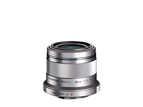Objetivo Olympus M.Zuiko Digital 45mm F1.8, longitud focal fija rápida, apto para todas las cámaras MFT (modelos Olympus OM-D & PEN, serie G de Panasonic), plata