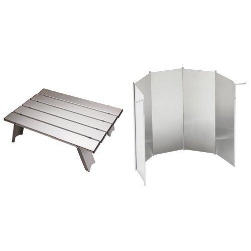 【おすすめセット】 キャプテンスタッグ アルミロールテーブル アルミロールテーブルコンパクト 1個 + ロゴス BBQ用ウインドスクリーン 1個