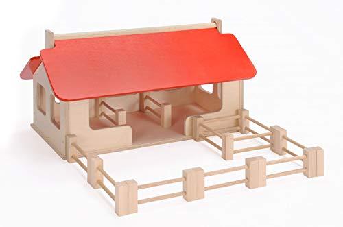 Großer Bauernhof + Zaunelemente (ohne Tiere!) / Material: Holz / Made in Germany / Maße: 55 x 32 x 28 cm / 3+