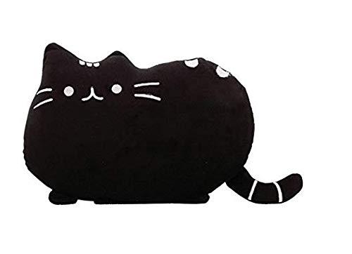 NiceButy Almohada con Forma de Gato cojín Lindo Gatito Animales de la Almohadilla Suave de la Felpa para la Familia balcón de la habitación decoración del sofá Negro Productos para el Hogar