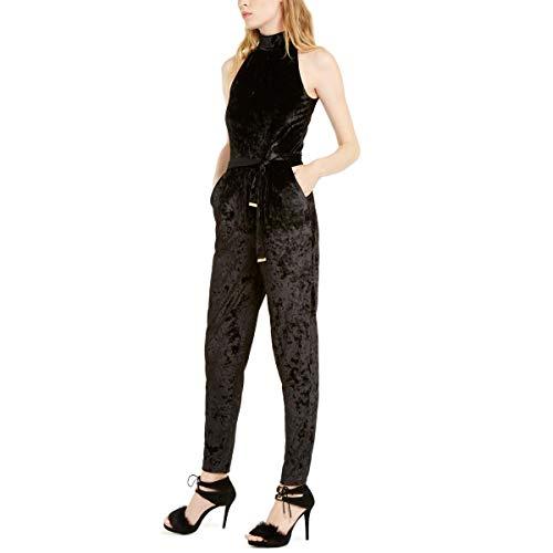 Michael Michael Kors Women's Velvet Halter Neck Jumpsuit (Black, X-Large)