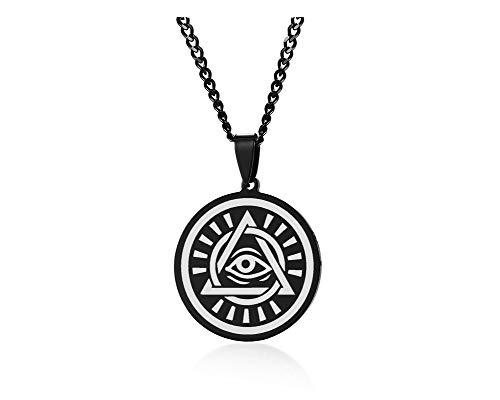 PJ JEWELLERY Schwarzer Edelstahl Alles sehende Auge der Vorsehung Pyramide Dreieck Auge Gottes Anhänger Halskette für Männer mit Kette