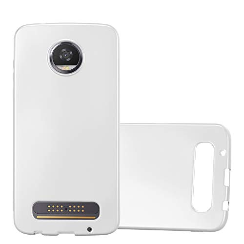 Cadorabo Hülle für Motorola Moto Z2 Play in METALLIC Silber - Handyhülle aus flexiblem TPU Silikon - Silikonhülle Schutzhülle Ultra Slim Soft Back Cover Hülle Bumper