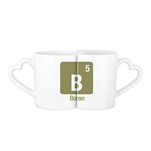 DIYthinker Pareja Boro de b Elemento químico Ciencia Amor Tazas de café Set cerámica Taza de cerámica Blanca con Asas Regalo