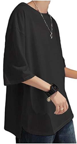 [フローライズ] FL100S tシャツ メンズ ラウンド カット ゆったり カットソー ドロップ ショルダー ビッグ シルエット シンプル ファッション ビジネス 服装 春夏 おおきい 大きめ ネック ストリート スウェット 夏 カジュアル 服 スポーティ スリーブ セット ジャージ ワイ 大きい サイズ 春 シャツ Tシャツ 無地 抜け感 ブラック 黒 2XL 半袖