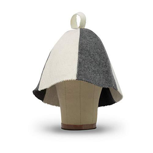 LoFelt® Saunahut - inkl. Sauna-Ratgeber - Farbe weiß/grau - fällt groß aus - 100% Baumwolle - Filz Saunamütze Saunakappe