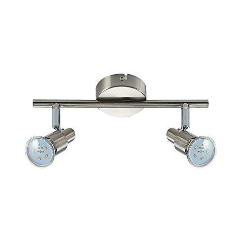 ELC LED Deckenlampe, schwenkbar & drehbar, 2 flammig, inkl. 2 x 5W GU10 LED Leuchtmittel, LED Deckenleuchte, Deckenstrahler warmweiss, Metall nickel matt chrom Deckenspot, Spot, Strahler