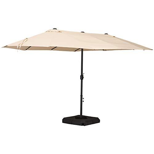 Outsunny Doppelsonnenschirm mit Ständer, Sonnenschirm mit Handkurbel, Gartenschirm, Marktschirm, Stahl, Polyester, Beige, 4,6 x 2,7 x 2,4 m