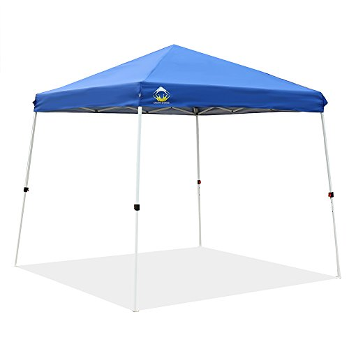 CROWN SHADES Patented 10ft x 10ft Base and 8ft x 8ft Top Slant Leg Outdoor Pop up Portable Shade Instant Folding Canopy with Carry Bag, Blue