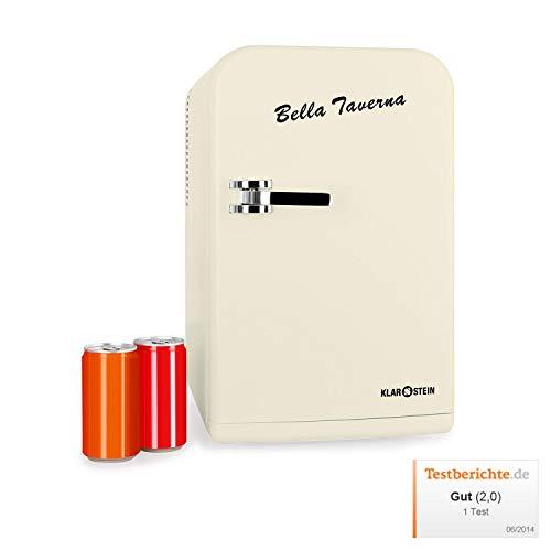 Klarstein Bella Taverna - 12V Kühl-/Warmhalteboxen im Kühlschrankdesign, 15 Liter Volumen, mobil, ausklappbarer Tragegriff, 2 Türfächer, Netzbetrieb oder via 12 V-Zigarettenanzünder, Creme