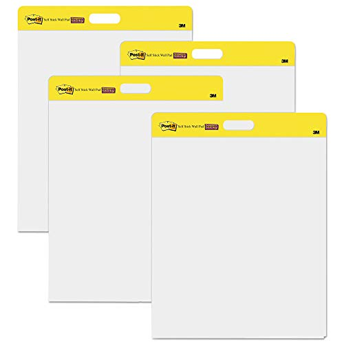 Post-it 566 Self-Stick Wall Pad, 20 x 23, White, 20 Sheets, 4/Carton