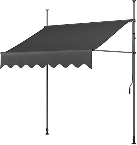 LHYLHY Toldo con Pinza Toldo para balcón Protección Solar con manivelaResistente a los Rayos UV, Regulable en Alturade Metal y poliéstersin taladrar200 x 120 cmGris