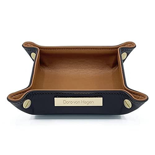Doro von Hagen Organizador de llaves de piel auténtica, 14 x 14 cm, exterior marrón moca y interior marrón coñac. Hecho a mano en nuestro taller